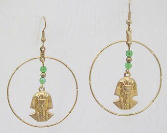 Egyptian style earrings, pharoah earrings, hoop earrings, Egyptian hoop earrings, gold and green earrings