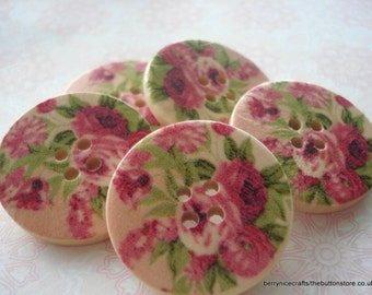 30mm Wooden Buttons, Pink Rose Print Buttons, Pack of 10 Pink Buttons, W3067