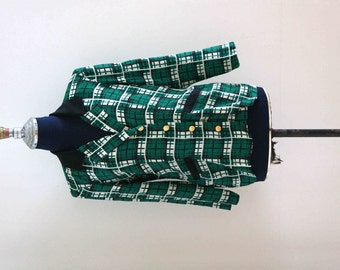 80s Original Vintage Green Checkered Blouse // Mod Retro Blouse // Size M - L