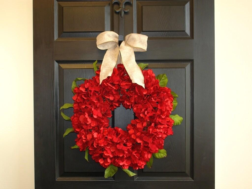 Christmas Wreaths Front Door Wreaths Red Hydrangeas Wreaths Front Door  Decor Decorations Wreath