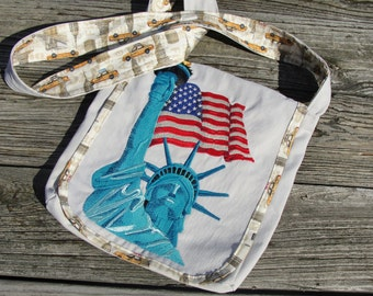 Urban New York City Statue of Liberty Cross-Body Messenger Bag Machine Embroidery Boho Eco Friendly Upcycled Cargo Pants Lots of Pockets