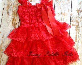 Red Lace Dress, Baby Girl Dress, Lace Ruffle Dress, Red Petti Lace Dress