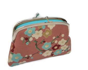 Pink blossom large coin purse with 2 compartments in light blue, kiss lock wallet, Japanese fabric design