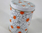 Vintage Regency Ware Daisy Tin Flower Power Metal Storage Canister White Yellow Floral Kitchen Decor