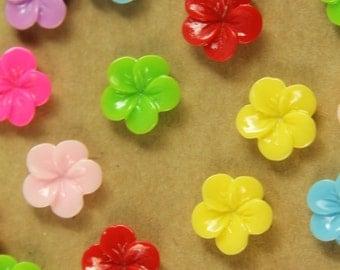 CLOSEOUT - 28 pc. Multi-Colored Plumeria Cabochons 11mm | RES-404