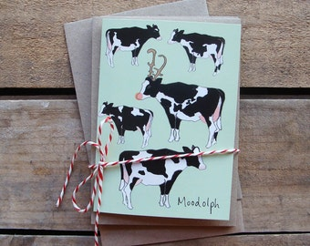 Moodolph cow Cards - Christmas Cards (pack of 5)