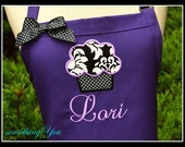 Personalized Purple Cupcake Apron - Custom Purple Applique Aprons, Dark Purple Orchid Lavender Aprons, Purple Bakers Aprons, Name Apron