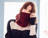 Chunky knit crochet cowl women's fall fashion accessories scarves and wraps circle infinity wool warm winter scarf