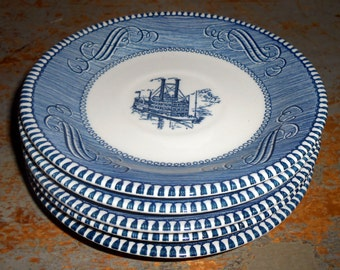"Vintage Plates, Currier and Ives, River Boat,  ""Low Water In The Mississippi"", Steam Boat, Blue & White, Transfer Ware, Ship, Royal China"
