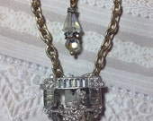 Upcycled Art Deco Dress Clip Assemblage Necklace, Rhinestones, 2-Tone, Double Goldtone Chains, Second Time Around Beauty! WishanWearJewelry