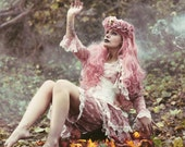 Bustle Skirt BLUSH ROMANTIQUE Lolita  Victoriana Pink  Vintage Lace Victorian Decadence By Ophelias Folly