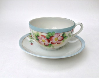 Tea Cup and Saucer, Hand Painted, Made in Japan.