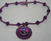 Beautiful Sparkly Swarovski Electra Rivoli Bead Embroidered Pendant Necklace