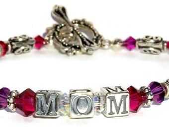 Personalized Bracelet, Birthstone Bracelet, Mothers Jewelry, Custom Bracelet, Sterling Silver, Birthstone Jewelry, Mothers Day Gift