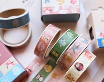 Owl Style Washi Tape Set - Japanese Washi Tape - Masking Tape - Deco Tape - Washi Paper - Filofax