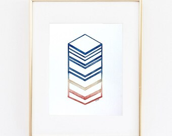 Chevron Painting, Watercolors paintings original, watercolor print, native, abstract watercolor, giclee print, watercolor art, ombre