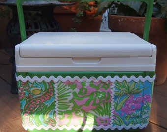 Green Lilly Pulitzer Patch Work Fabric Covered 5 qt. Lunchbox Cooler.  Authentic Lilly Pulitzer Fabric Waterproofed for easy care