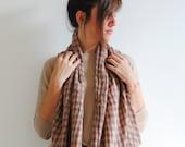 Peach Pink scarf,plaid scarf,infinity scarf,unisex scarf,long scarf,Loop scarf,Circle scarf,Women Scarf, Gift,Scarves