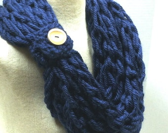Kay's Crochet Arm Knit Crochet Bulky Rope Scarf In Navy Blue with Wood Button