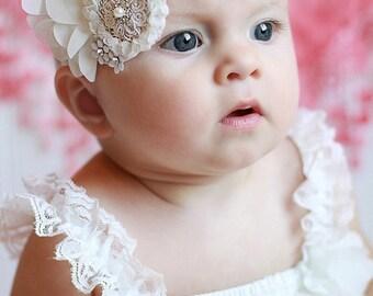 White Chiffon Flower Headband, Swarovski baby Headband, Newborn Baby Headband, Flower Headband, Birthday, Wedding, Flower GIrl, Photo Prop