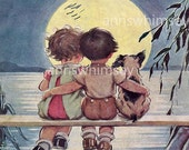 "Little Boy, Little Girl, The Moon and the Dog,  ""First Love"", Restored Antique Print - Great Print For ANYONE and ANY Room  #63"