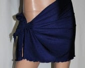 Custom Lycra Swimwear Sarong Pareo Beach Pool Tie Wrap Skirt ~NAVY BLUE (70+ More Colors Available)~Size 4X (28-30) * Short to Long Lengths