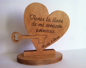 The key to my wooden heart with custom message