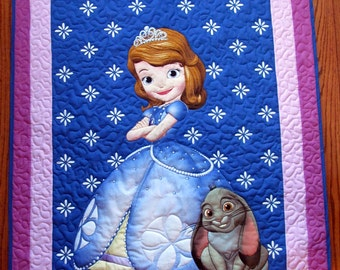 Princess Sofia Quilt. Disney, quilt, Girl Quilt, Child quilt, Lap Quilt, Wall Hanging, Princess Sofia and Clover B-48