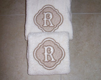 Embossed Monogram  2 Hand  Towels- Personalized