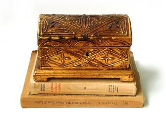 Antique wood jewelry box , Italian Jewelry Box Carved Wooden , Wedding Ring Box