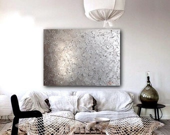 """Acrylic Painting, Thick paint, Abstract art, art, 24x32"""", Large Painting, Texture Painting on Canvas - Abstract Silver"""