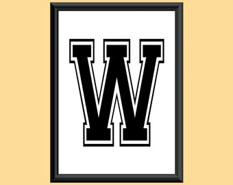 Typography Giclee Print Monogram Initial Wall Art Varsity Letter W