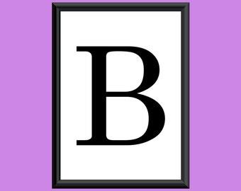 Typography DIGITAL PRINT Monogram Initial Wall Art Century Letter B 5x7