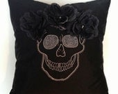Skull Pillow with black roses and  beads