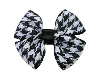 Baby Hair Bow, Girls Hair Clip, Houndstooth Hair Bow, Black and White Bow, Toddler Accessory
