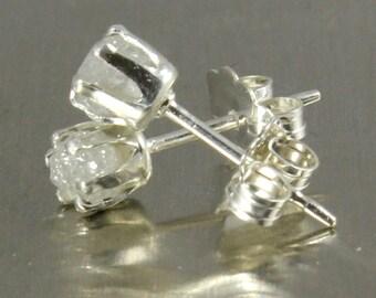 Rough Diamond Stud Earrings on Silver - 3.5 mm Ear Studs - White Uncut Raw Diamonds - April Birthstone
