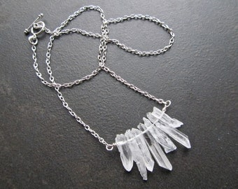 Icicle Statement Necklace, Raw Quartz Icicles, Natural White Quartz Needles, Silver Chain 859