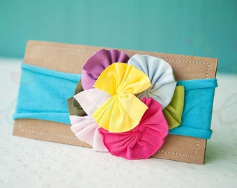 Ema Jane - Shabby Chic Headband (Rainbow Rosettes on Bright Turquoise)
