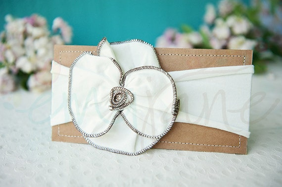 Ema Jane - Shabby Chic Headband (Anitque White Rosette with Brown Trim on Antique White)
