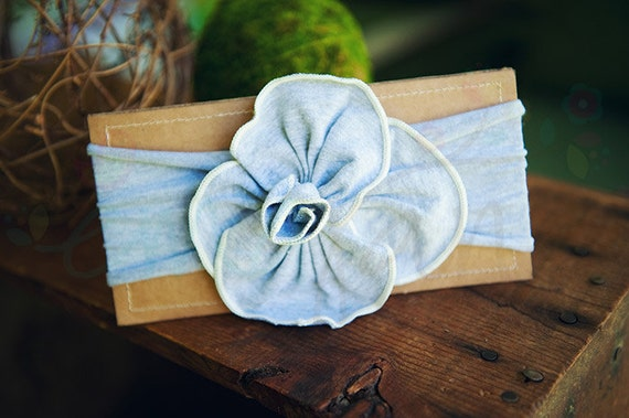 Ema Jane - Shabby Chic Headband (Light Gray Rosette on Light Gray)
