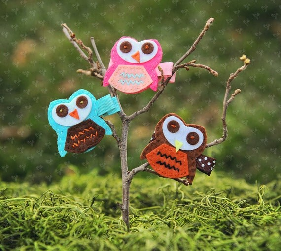 Chic Small Felt Owl (hoot hoot) Hair Clips Set