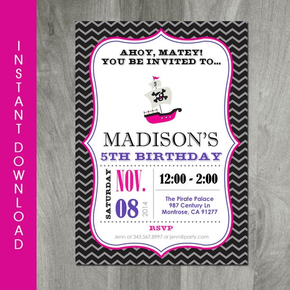 Party Invitation, Self Editable, INSTANT DOWNLOAD, Girl Birthday ...