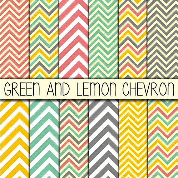 Chevron Papers - Zigzag printables - Grey, Rose, Green, Lemon - Set of 12 Digital Scrapbook Paper - 12 x 12 inches