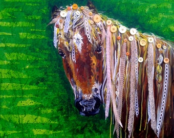 "Original mixed media painting ""Lacy"",horse,horse painting,real buttons,real lace,animal,animal painting,"