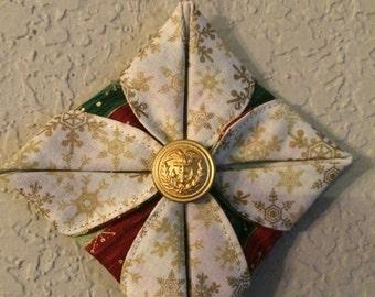 USCG Fold Ornament Gold Snowflake