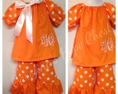 Tennessee game day peasant dress and pants set