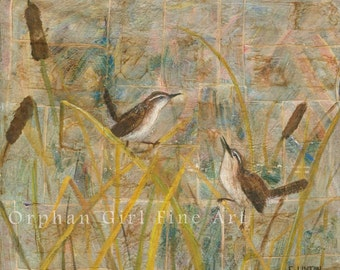 Marsh Wren Painting, Watercolor Bird, Bird Art Print, Bird Painting, Wildlife Painting, Animal Art Print Bird Illustration Bird Home Decor