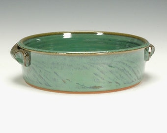 Pottery Baking dish with handles, glossy green glaze.  Ready to ship.
