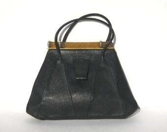 1930s deco handbag of black leather handbag with gold bakelite top bar - 1930s black purse - 1930s handbag - deco bag - 1930s vintage purse