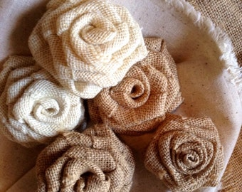 Burlap Rose Assortment - Neutrals - set of 5